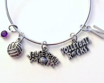 Volleyball Mom Jewelry Charm Bracelet Bangle Silver Player Team initial Birthstone Birthday Gift Christmas Present Custom Volley Ball Rocks