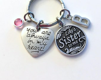Like a Sister to me Heart Keychain, Gift for Best Friends, Coworker Sister in Law present for Cousin Step, Always in my heart her BFF Women
