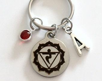 Manipura Solar Plexus Chakra Keychain 3rd Third Kundalini Gift for Chinese Medicine Healer Present Key Chain initial keyring birthstone yoga