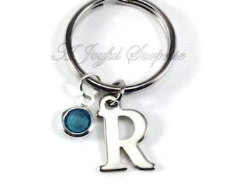 Initial Key Chain, Monogram Keychain, Letter and Birthstone Keyring, Personalized gift present A B C D E F G H I J K L M N O P Q R S T W her