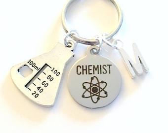 Chemist Keychain, Chemistry Student Key chain Gift for Science Student Grad Keyring initial letter custom personalize men women Beaker charm