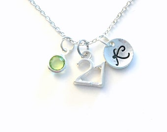 21st Birthday Jewelry, Number Necklace, Silver Charm Pendant, 21 Custom Sport, Gift for Teen Teenage Boy Girl Her Him Daughter niece adult