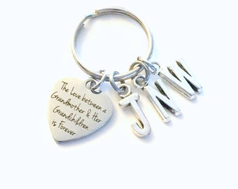The love between a Grandmother and her Grandchildren is Forever KeyChain Key Chain Multiple Grandkid letter 2 3 4 5 6 7 8 9 10 Gift for from