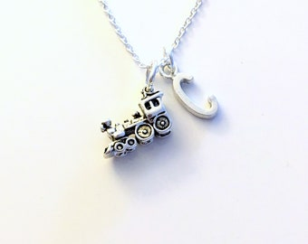 Train Gifts for Men Necklace, Railroad Jewelry Charm, Railway Conductor's present Initial Birthstone birthday present Steam Engine travel