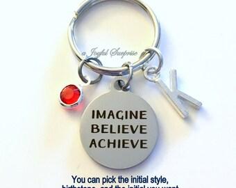 Imagine Believe Achieve KeyChain Inspirational Keyring Motivational Key chain Initial Birthstone birthday Gift Christmas present purse charm