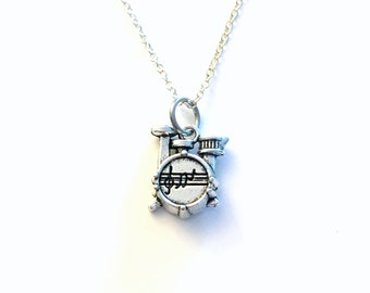 Drummer's Necklace, Gifts for Drummers, Drumkit Necklace, Percussion Gifts, Drum Necklace, Percussionist Gift, Silver Men's Jewelry man 204