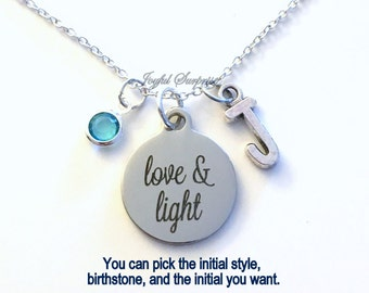 Love and Light Necklace, Yoga Greeting Jewelry, Gift for Yogi Instructor Present Confirmation charm Initial Birthstone birthday Christmas