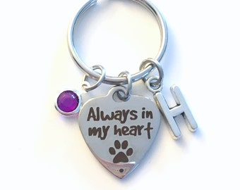Loss of a Pet Keychain, Always in my heart Gift, Key Chain Keyring, Initial Birthstone Sympathy Memorial present women her him Dog mom Cat