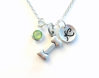 Dog Bone Necklace, Gift for Girl or Boy, Pet Jewelry Doggy Pet Animal Silver charm Initial Birthstone present Short Long Chain Sterling her