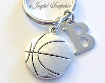 Basketball Keychain, Basketball Player's Key Chain, Silver Basketball Keyring, Gift for Basketball Player Gift, Custom Initial Personalized