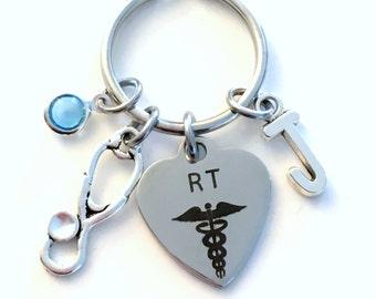 Gift for RT KeyChain, Respiratory Therapist Key Chain, Nurse Nursing Keyring Personalized Initial Birthstone Birthday present Therapy her
