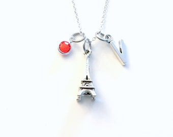 Paris Jewelry, Eiffel Tower Necklace, Personalized Traveler Gift, France Souvenir with initial birthstone Birthday Present Girlfriend BFF 90
