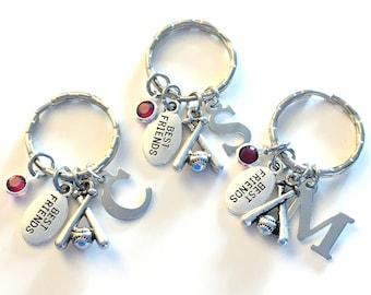 Best Friend Baseball KeyChain Set of 1, 2 3 4 5 6 Gift for GirlFriend BFF Keyring Sports Key Chain Silver Birthstone Initial Letter Teammate