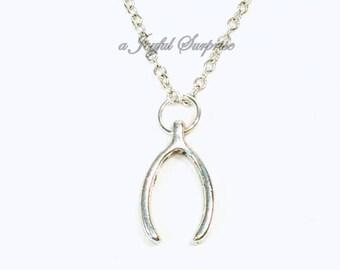 Silver Wishbone Necklace, Wish Bone Jewelry, Good luck Charm, Pewter Charm Pendant Gift, Food Everyday Women Men Turkey her him fortune girl