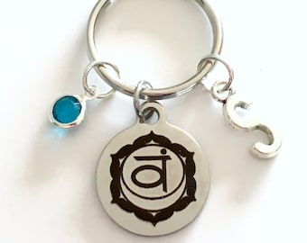 Svadhisthana Sacral Chakra Keychain 2nd Second Kundalini Gift for Chinese Medicine Healer Present Key Chain initial keyring birthstone yoga