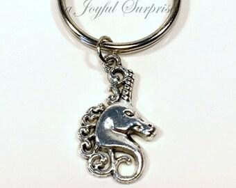 Unicorn Key Chain, Uni-Corn Keyring, Fairy Tale Keychain Fairytale Gift, Magical Creatures Jewelry Little Girl Luggage Tag purse Zipper Pull