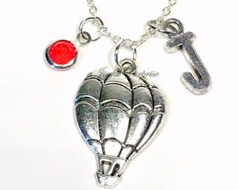 Balloon Necklace, Hot Air Balloon Jewelry Cheer up Gift Silver Charm Pendant Personalized Initial Birthstone birthday gift Christmas present
