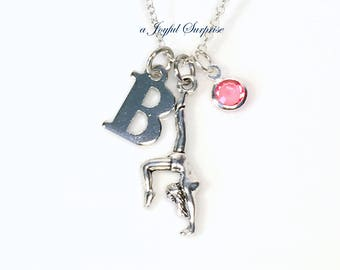 Personalized Gymnastic Necklace, Gymnast Jewellry, Gift for Gym Mom Charm Silver Handstand Charm Teenage Girl Teen Letter Initial Birthstone