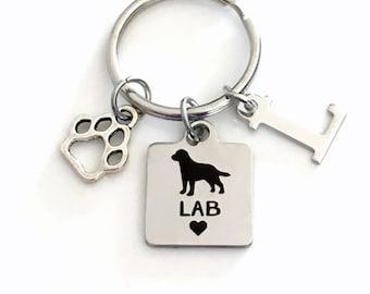 Lab KeyChain Labrador Retriever Key Chain Gift for Dog Mom Keyring Doggie Puppy Jewelry charm Silver Initial present Man woman Men Boy Girl