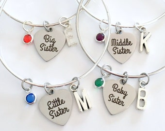 Gift for Baby, Middle, Little & Big Sister Set of 2 3 or 4 Bracelet Jewelry Charm Bangle Silver initial Birthstone Birthday Present Sis