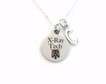 Radiology X-Ray Tech Necklace, Gift for Xray Technician Jewelry, Technologist silver charm, him her Retirement or Graduation Present Grad