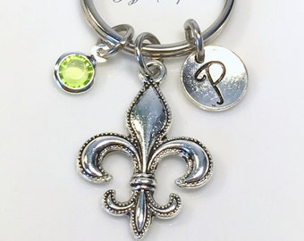 Fleur De Lis KeyChain, Flower Key Chain, Best Friend Keyring, Lys New Orleans Gift, French Acadian Louisiana Marching Band Present charm