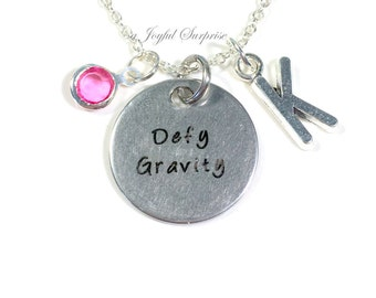 Defy Gravity Necklace, Wicked Jewelry Charm The Musical Theatre Theater Silver initial Drama Mask Gift for Teenage Daughter Teen Girl women