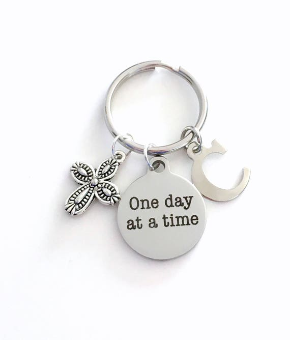 AA Keychain Alcoholics Anonymous Key Chain One Day at a Time  90befa225e5f
