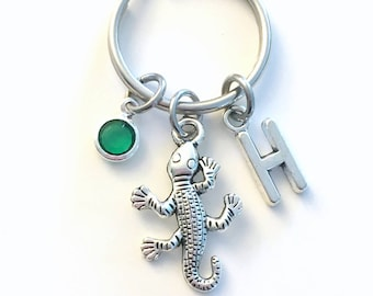 Lizard KeyChain, Reptile Key Chain, Gecko Keyring, Animal Jewelry Initial birthstone present Pond Nature Birthday Personalized Custom Boy