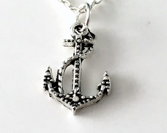 Necklace for Man, Silver Anchor Jewelry, Sailing Gift for Men Marine Present, Nautical Sea Sailor Rope Charm Long Short Seller in CANADA 172