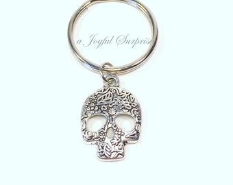 Mexican Skull Keyring / Sugar Skull Keychain / Gothic Steam Punk Key Chain