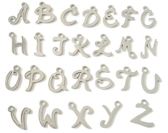 "Add an Initial Charm / 12mm 1/2"" Stainless Steel Script Font Letter Charm / Monogram Pendant / Capital Letter / Fancy Pretty Font"