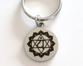 Anahata Chakra Key Chain Kundalini Heart Gift for Chinese Medicine Healer Fourth 4th Present KeyChain keyring yoga charm love compassion joy