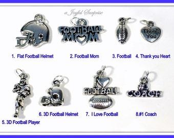 Football Charm, Silver Football Charms, Your choice Football Mom, Football Helmet, I love Football, Football player, #1 Coach 1 single Charm