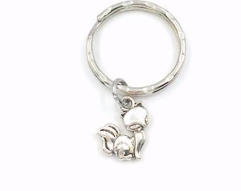 Silver Fox Key Chain, Foxy KeyChain, Gift for Animal lover, Tiny Small Jewelry Wild Cute Key Ring, Purse Charm Luggage, Boy teenager Girl