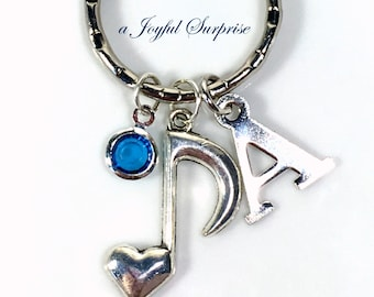 Music Note Keychain, Gift for Musician, Band Music student Single Charm Keyring Silver Key Chain Personalized letter birthstone custom her