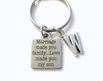 Marriage made you family Love made you my son Keychain, Gift for Son in law Key Chain, Wedding Present Jewelry Groom Him New Son in Law Our