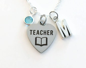 Teacher Necklace, Teacher Jewelry, Gift for Assistant EA TA, Graduation Gift Personalized Initial Birthstone birthday gift Christmas present