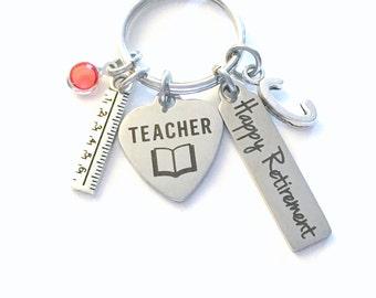Teacher Retirement Present / School Principal Keychain / Gift for Women or Men Retire Key Chain /  Keyring him her Personalized Custom