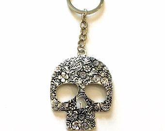 Large Skull Keychain, Mexican Sugar Skull Key Chain, Calavera Mexico Catrina Keyring Silver Jewelry present Teen Teenage Boy Man Men Girl