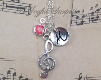 Treble Clef Necklace, Musician Gift, Music Jewelry Music note Present Teacher Instructor Band Student, initial birthstone Custom Opening 150