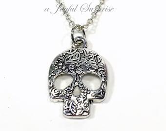 Sugar Skull Necklace, Silver Skull Jewelry, Mexican Catrina Gift, Pewter Skull Charm Calavera Pendant, Gothic Steam Punk Necklace Retro