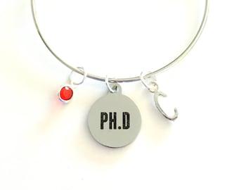 PH. D Bracelet / Gift for PHD Charm Bracelet / Doctorate Degree Silver Bangle / Doctor Jewelry / PH D Graduation Present / women her woman