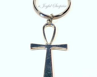 Ankh Keyring Keychain, Ankh Key chain Gift, Religious Cross Ancient Egyptian Religion Symbol Egypt Theme Large Pewter Charm Pendant Jewelry