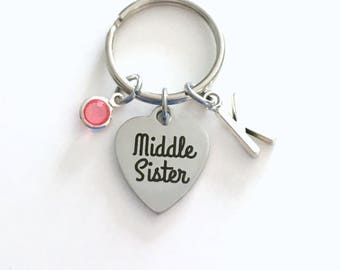 Gift for Middle Sister Keychain, Sibling Key Chain Keyring, Initial Birthstone Birthday Christmas present women woman ring little big baby