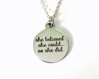 Achievement Necklace, Gifts for Graduation, Law of Attraction Jewelry, Motivation Congratulation Present Girlfriend The Secret Ideas