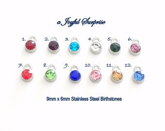 Add on a 9mm x 6mm round colored dangle to any listing, Stainless Steel crystal, birthstone dangle, stone Charm Red Blue Purple Yellow Pink