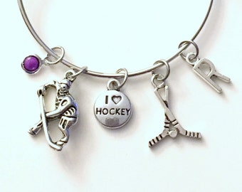 I love Hockey Jewelry Charm Bracelet Bangle Silver Player Team initial Birthstone Birthday Gift Christmas Present Custom Stick and Puck
