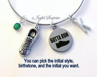 Gotta Run Bracelet, Gift for Runner Jewelry, Sneaker Running Shoe Athlete Charm Bangle Silver initial Birthstone Birthday Present Christmas