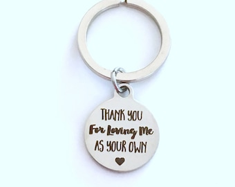 Thank you for loving me as your own KeyChain, Step Father Dad Gift for Guardian Keyring Foster Parents Key chain letter Birthday present us